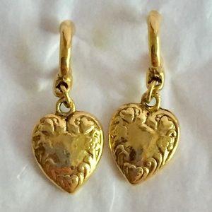 Vintage gold heart dangle earrings